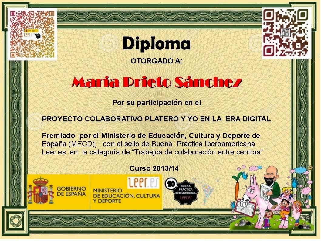 """Diploma de participación en el Proyecto Colaborativo""""Platero y yo en la era digital"""""""