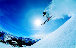 Ski Snowboard Skis Jumping Snow Dust HD Wallpaper