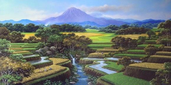 lukisan pemandangan pegunungan