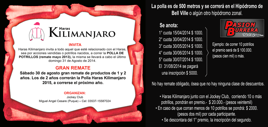 KILIMANJARO - 31 DE AGOSTO