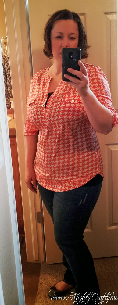 Filbert Houndstooth Henley Blouse -- Stitch Fix review -- April 2014 -- www.MightyCrafty.me