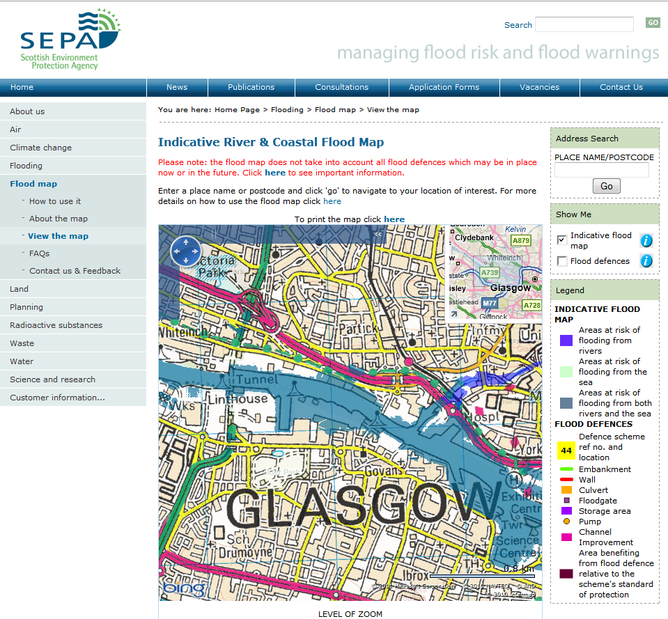 scotland flood and warnings maps