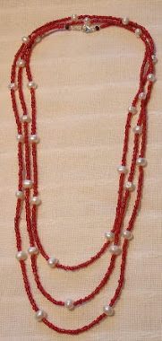 Long Necklace - Red Coral & River Pearl -PP- Nec 4