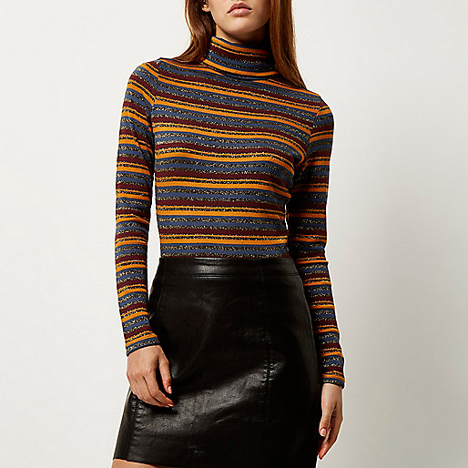 stripy roll neck top, river island roll neck top, metallic roll neck top,