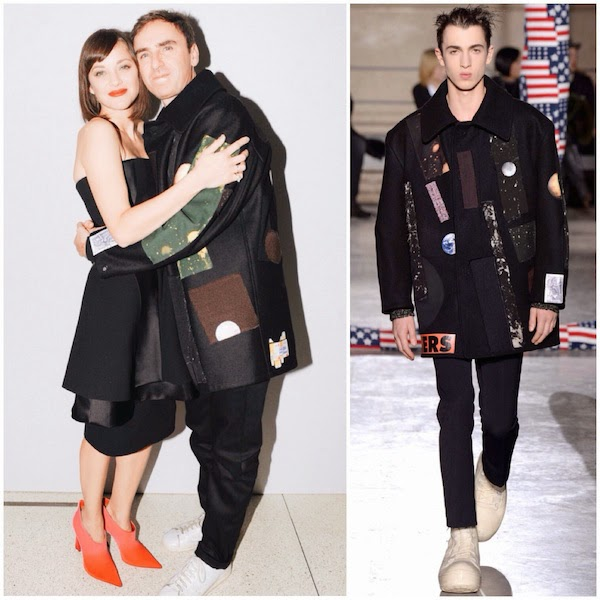 Marion Cotillard in Christian Dior and Raf Simons in Raf Simons Sterling Ruby Fall Winter 2014 patchwork coat - After Hours at the Guggenheim With The xx and Dior