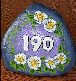 painted rocks, address, rock painting, home, garden