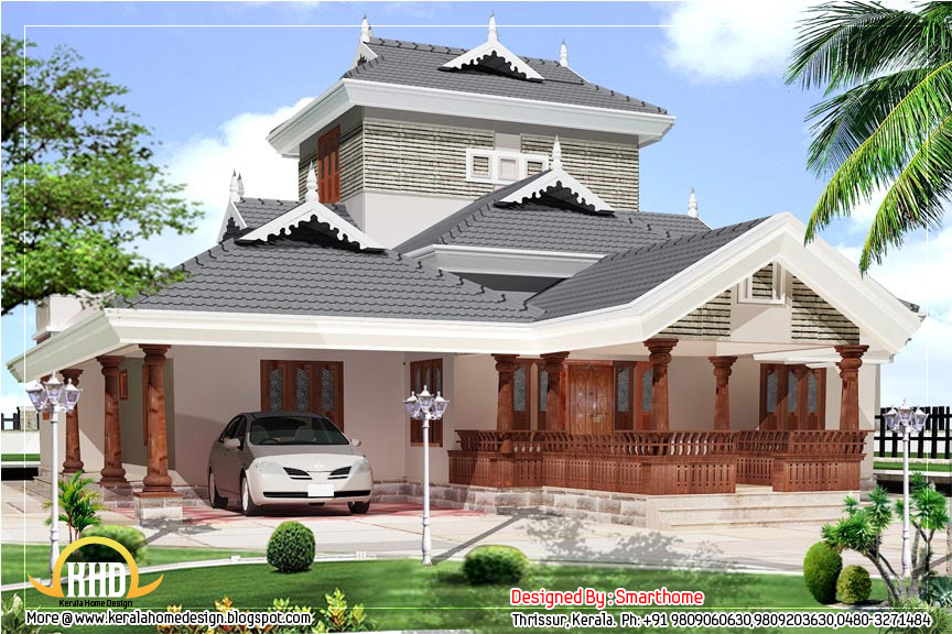 Kerala style villa elevation design 2600 sq ft for Kerala style home designs and elevations