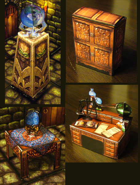 fantasy paper miniature models: hero-quest style furniture for