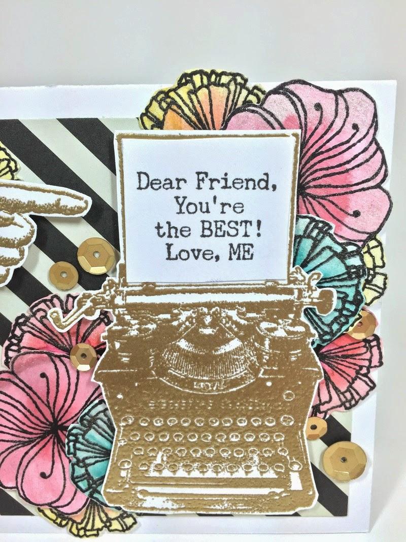 Floral Typewriter card