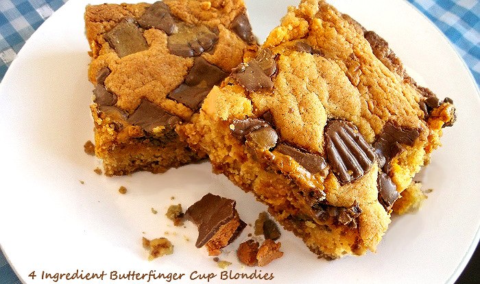 4 Ingredient Butterfinger Cups Blondies #ThatNewCrush #shop #cbias