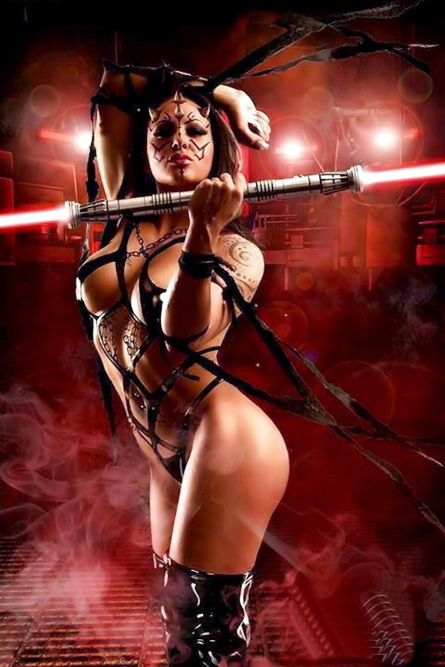 Cosplay sith sexy, harnias latex et double sabre laser rouge