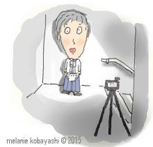 Mel Kobayashi, Bag and a Beret, deer-in-the-headlights-pose cartoon