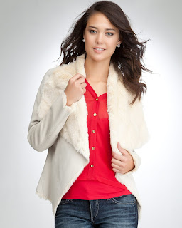 Reversible Drape Faux Fur Jacket