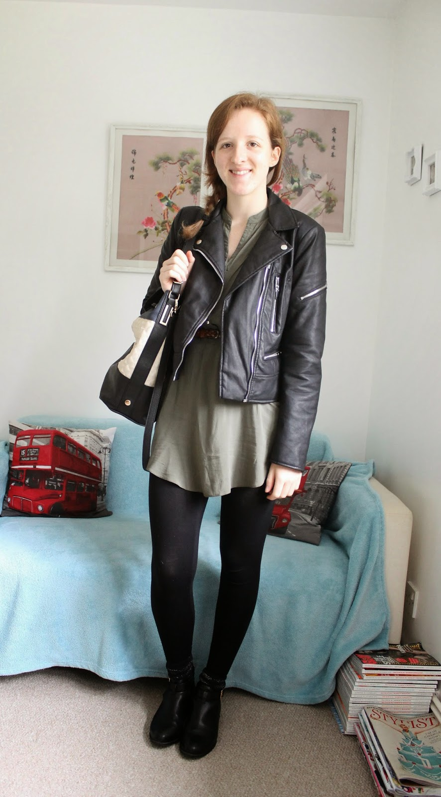 OOTD Military Dress and Leather Jacket