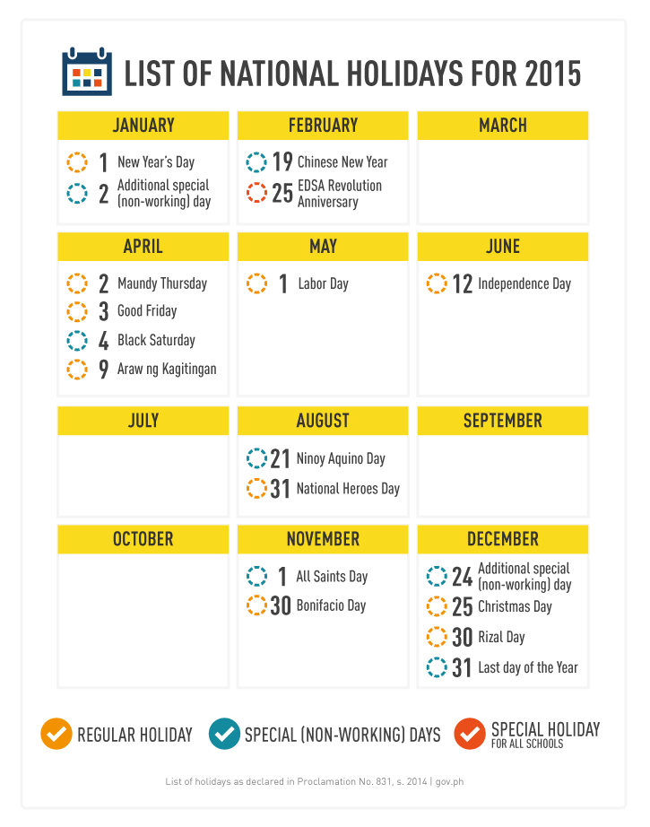 List of Holidays 2015 Philippines