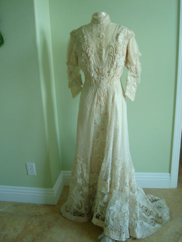 Up For The Consideration Is An Antique Silk Victorian Cream Colored Wedding Gown With Battenburg Lace Overlay This 19th Century In