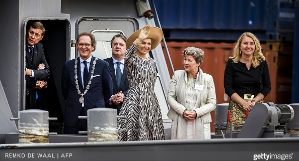 Dutch Queen Maxima, Mayor of 's-Hertogenbosch Ton Rombouts and Infrastructure and Environment Minister Melanie Schultz van Haegen ride a boat during the opening of the Maxima Channel in Rosmalen