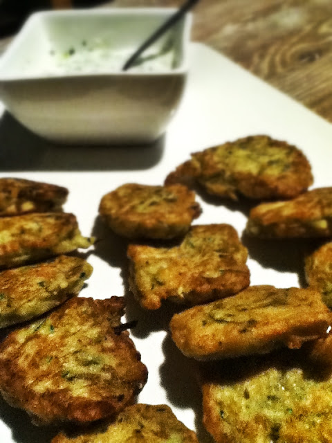 Zucchini Fritters with Yoghurt Dressing