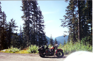 Stock 47 Harley Knucklehead in the mountains