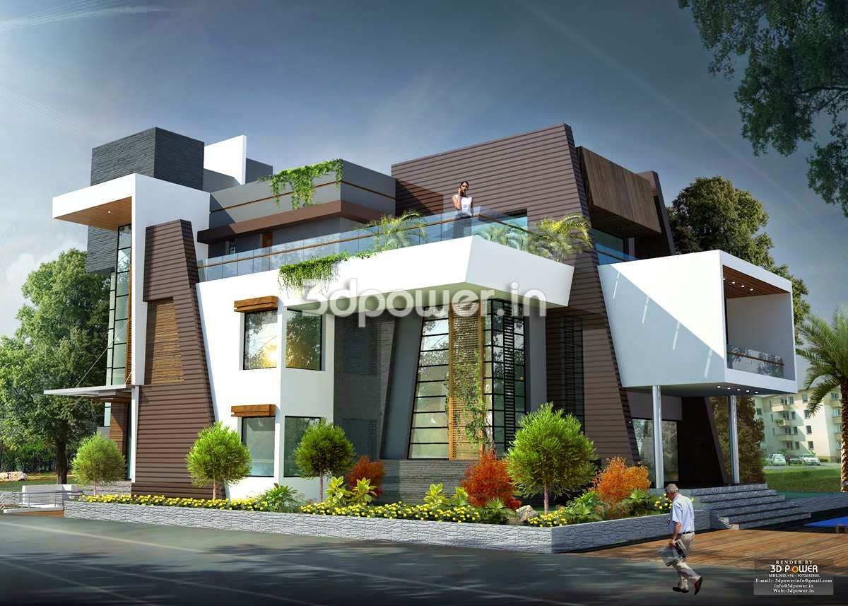 Side angle view of contemporary bungalow for Super modern house design