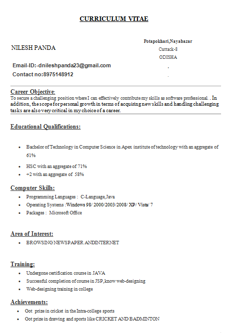 resume for undergraduate engineering students