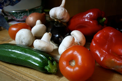 Fruit and Veg, vegetables, courgettes, tomatoes, aubergines, peppers, mushrooms, garlic