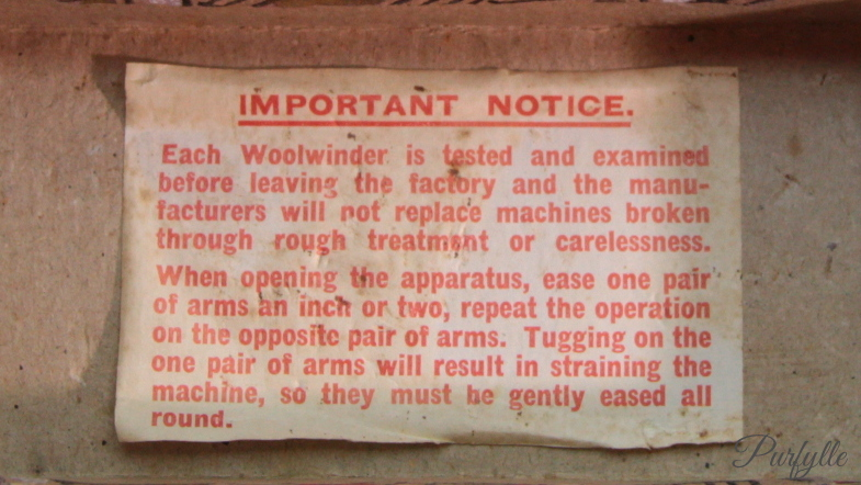 original manufacturers notice to purchasers of the woolwinder