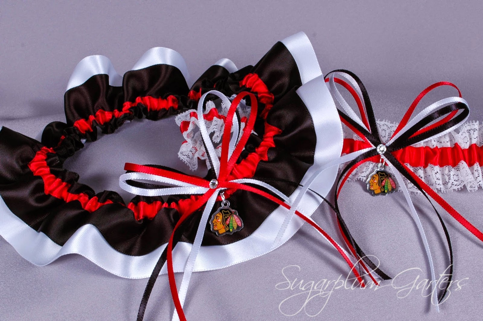 Custom Chicago Blackhawks Wedding Garter Set by Sugarplum Garters