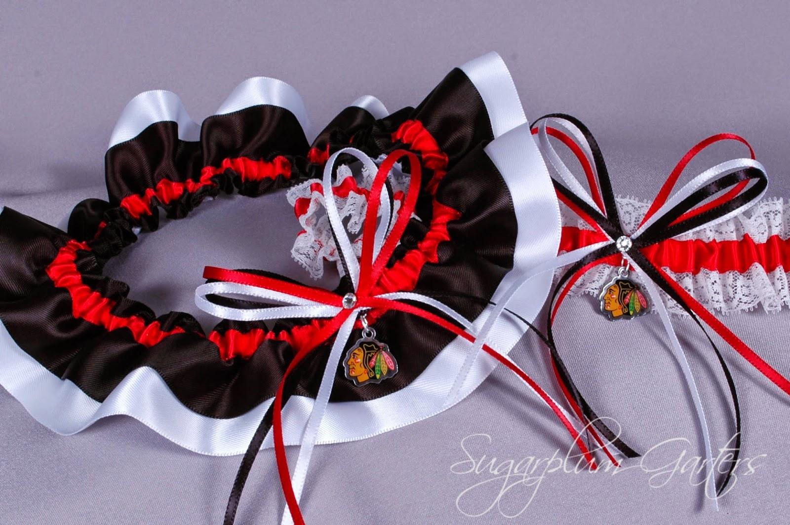Custom Chicago Blackhawks Wedding Garter Set by Sugarplum Garters