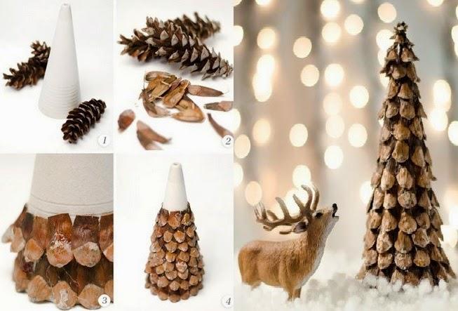 Rbol navide o con pi as secas para esta navidad 2014 for Manualidades navidad con pinas