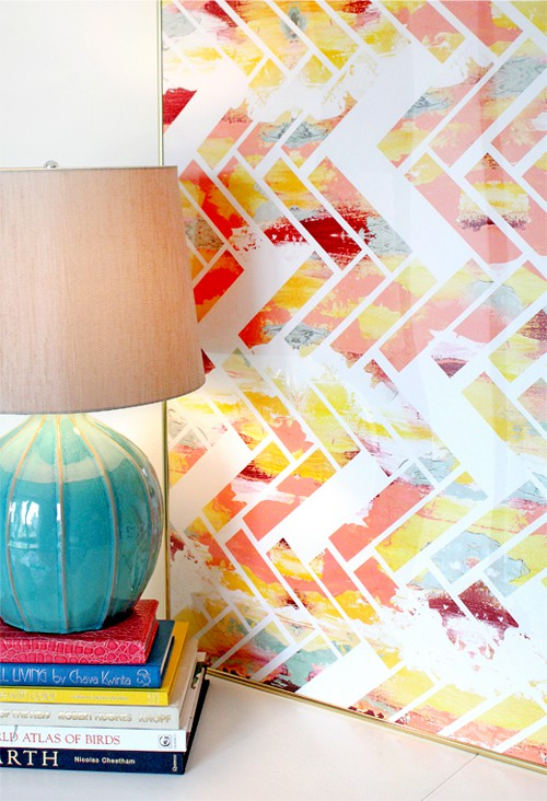 Diy Wall Art Canvas Tape : Make bake and love diy painted chevron canvas