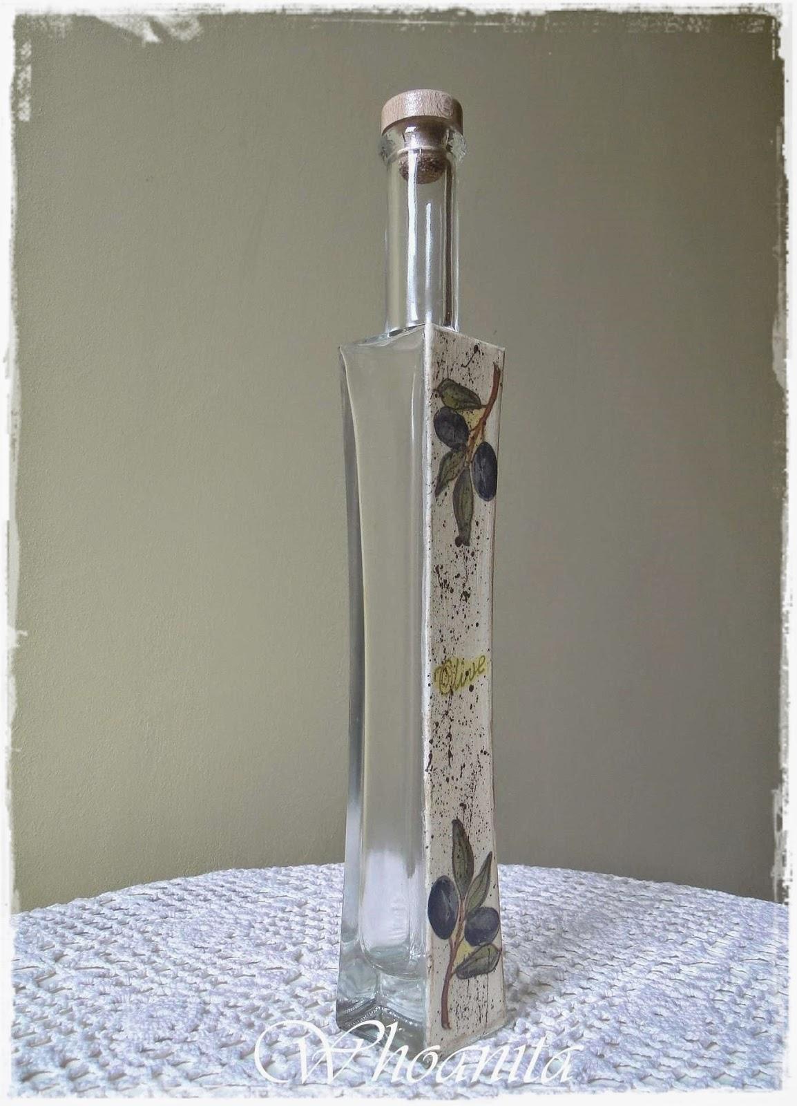 ozdobna butelka na oliwę z oliwek, decoupage