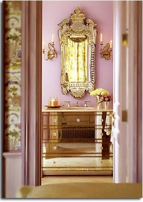 pink room gold accents mirrored chest dresser oversized mirror