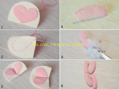 2. Khâu viền trái tim lên hình số 2, lật mặt sau gấp 1 đường ở giữa trái tim rồi khâu lại. Khâu tay và chân (hình 4) rồi nhồi bông vào