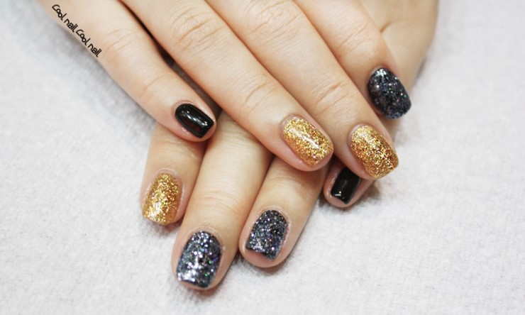Gold And Black Gel Nail Blue Silver Art Glitter Polish Pedicure Cool