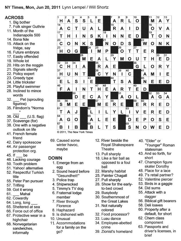 The New York Times Crossword In Gothic 062011 Angst And Anatomy