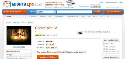 God of War IV was released September 2012?