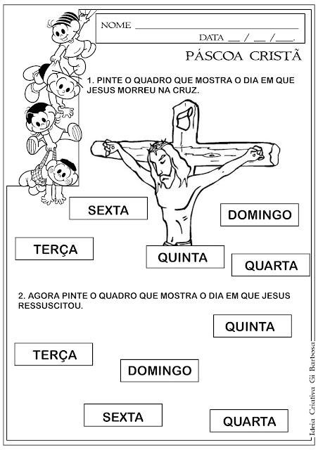 Atividade Páscoa Cristã/ Morte e Ressurreição