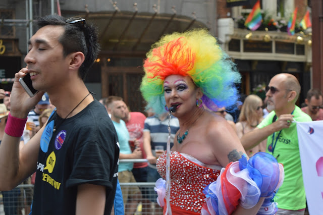 Drag Queen with rainbow afro at London Gay Pride 2015