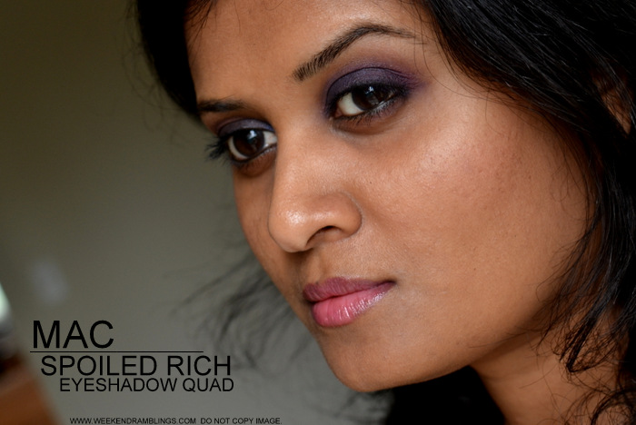 MAC Makeup Spoiled Rich Eyeshadow Quad Palette Archies Girls Collection Ron Ron Gravel Pinup Purple Review Photos Swatches FOTD Ingredients Indian Darker Skin Beauty Blog