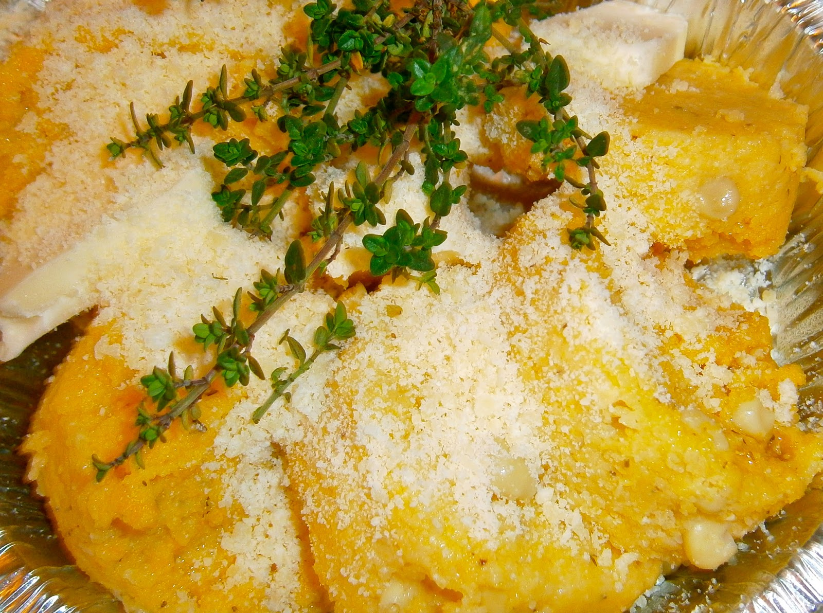Corn polenta with cheese, butter and thyme to be baked at client's ...