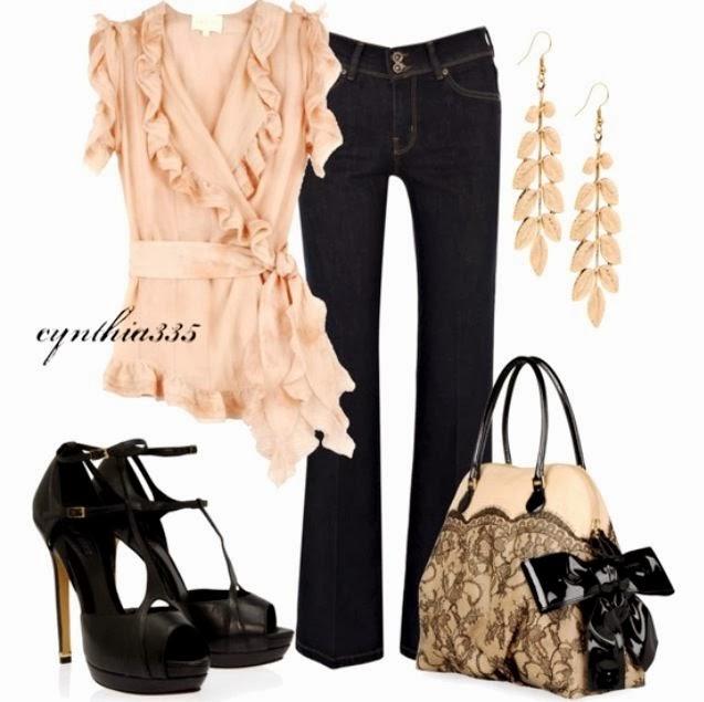 Black jeans, blouse, high heel black sandals and handbag
