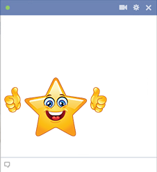 Star smiley showing thumbs up