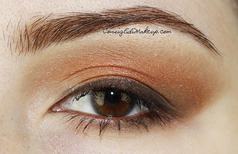 Trucco occhi bronzo luminoso con Fenice di Neve Cosmetics