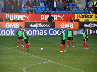 football pre-match warm up