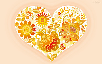 Heart wallpapers - Golden flowers in Heart Image