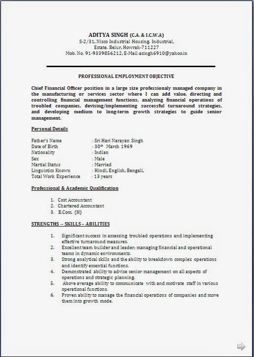 resume blog co  resume sample  ca  u0026 cma  cwa  having 18 years rich experience in finance  u0026 accounts