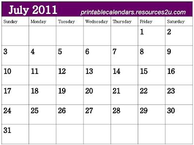 blank calendar 2011 august. Blank Calendar 2011 July