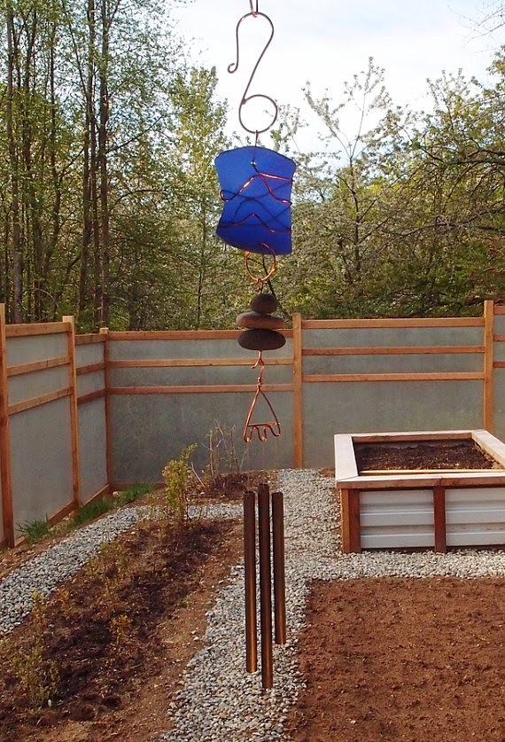Blue glass with copper wind chime, Coast Chimes