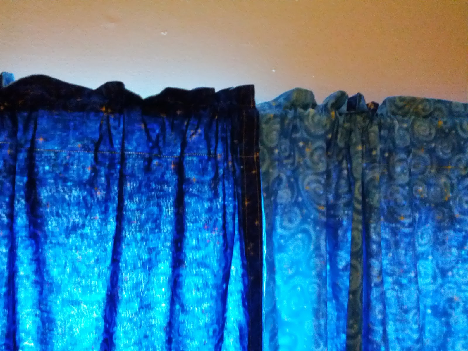 Cobalt blue curtain panels - Showing The Top And How It Hangs On The Curtain Rod This Rod Was Only One Inch Thick Another Nice Thing About Making Double Sided Curtains Is That It